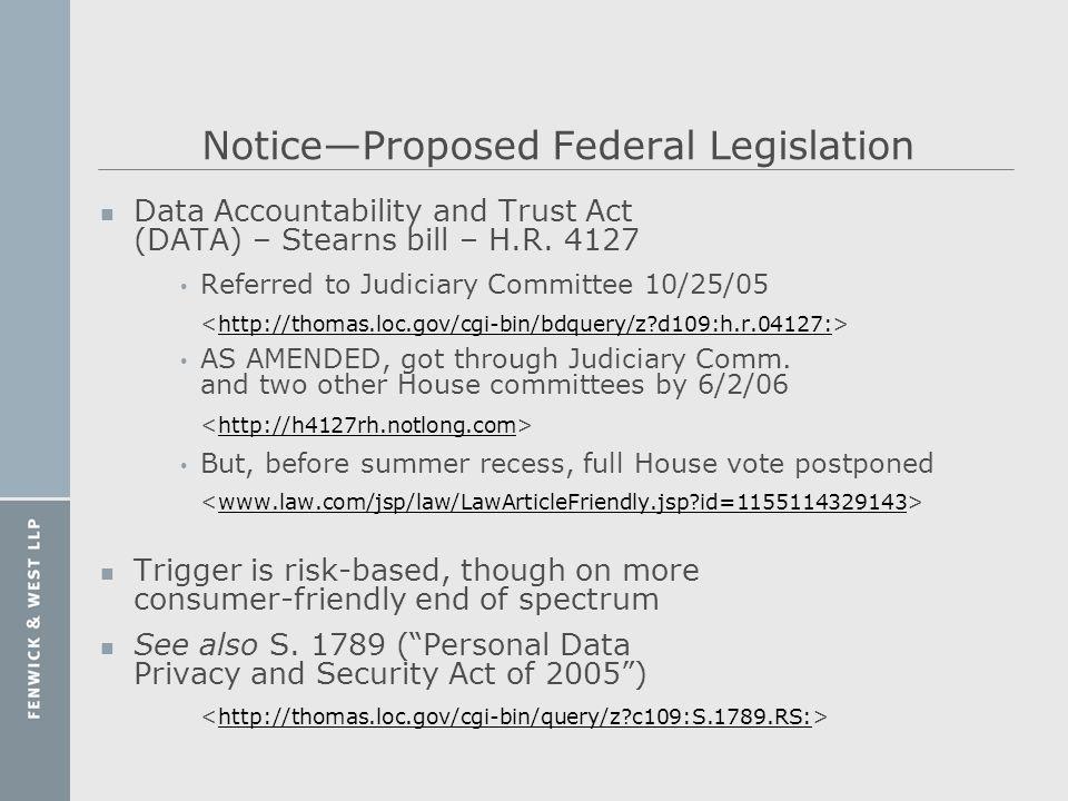 Notice—Proposed Federal Legislation