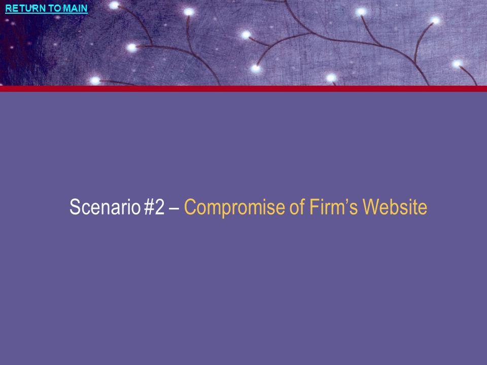 Scenario #2 – Compromise of Firm's Website
