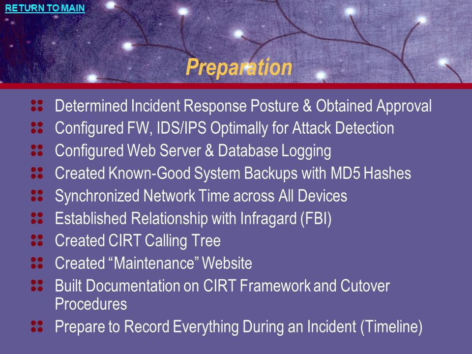Preparation Determined Incident Response Posture & Obtained Approval