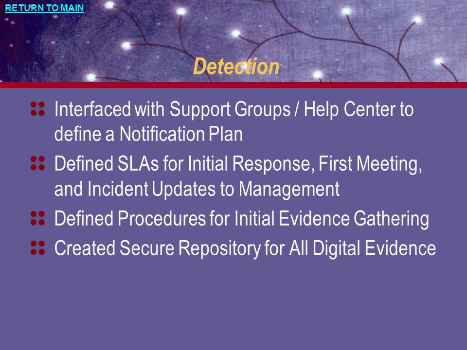 Detection Interfaced with Support Groups / Help Center to define a Notification Plan.