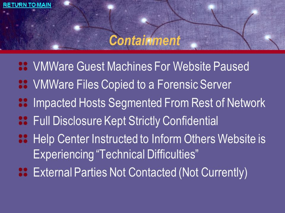 Containment VMWare Guest Machines For Website Paused