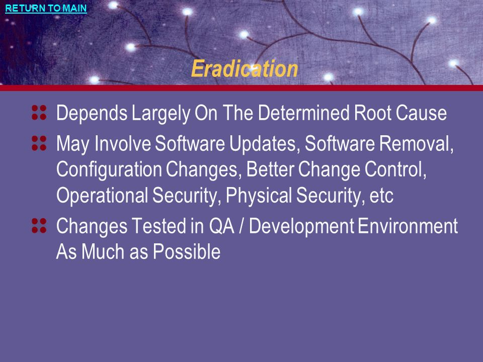 Eradication Depends Largely On The Determined Root Cause