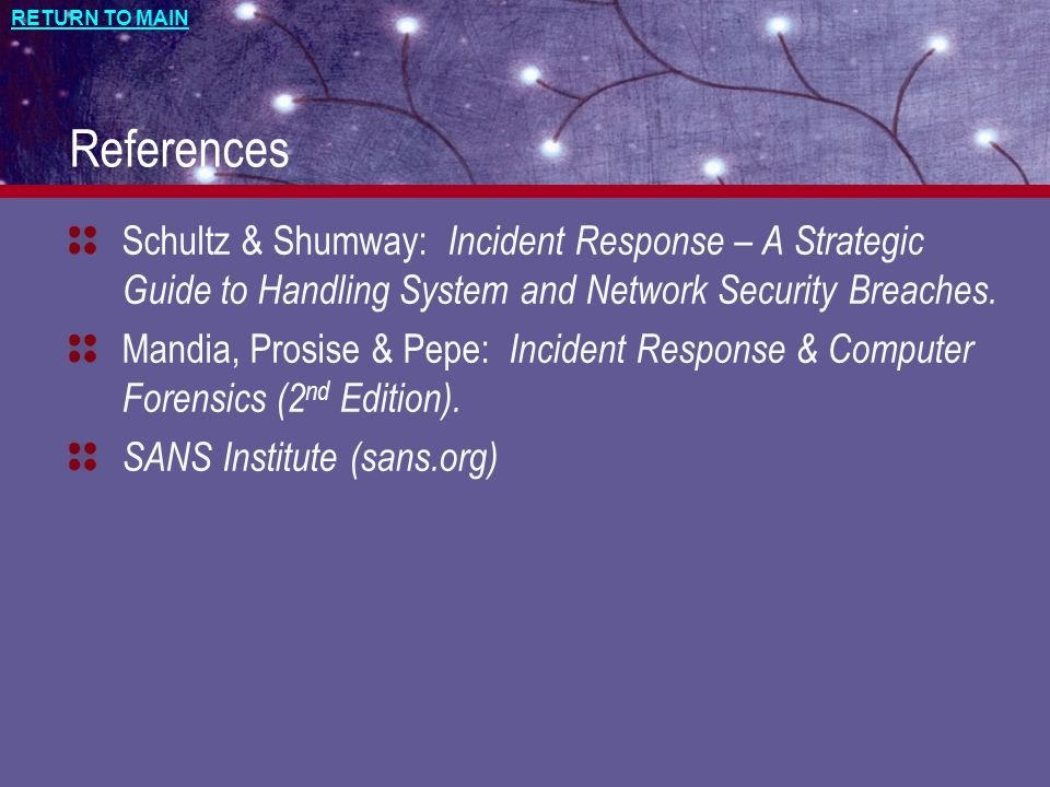 References Schultz & Shumway: Incident Response – A Strategic Guide to Handling System and Network Security Breaches.