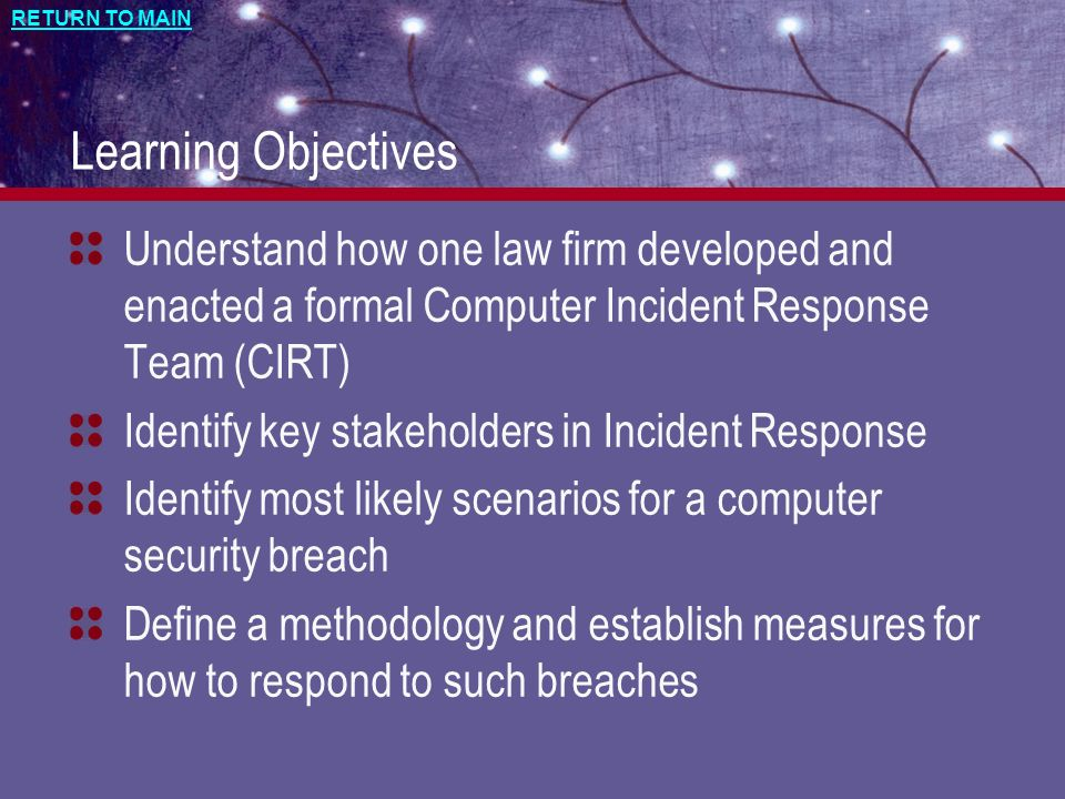 Learning Objectives Understand how one law firm developed and enacted a formal Computer Incident Response Team (CIRT)