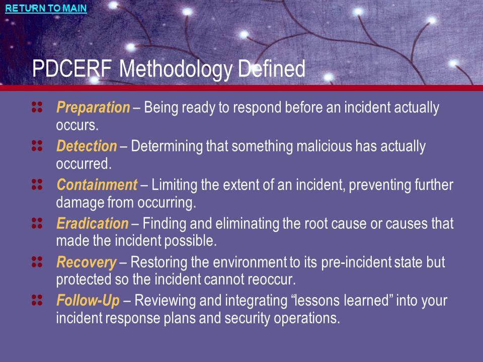 PDCERF Methodology Defined