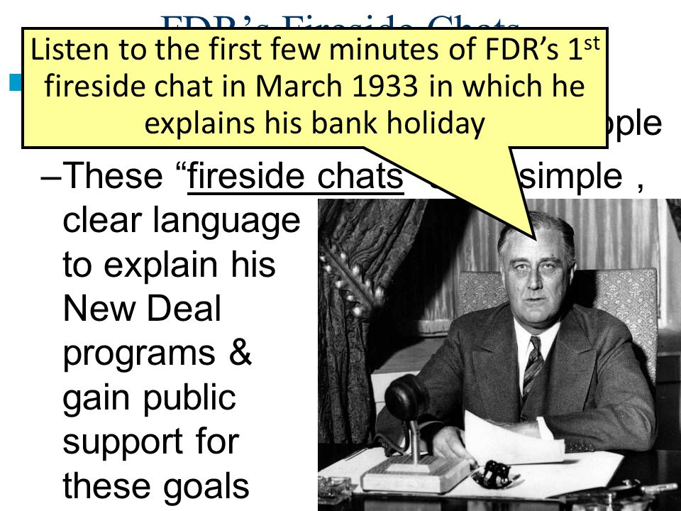a fireside chat essay Why were fireside chats important the primary importance of these so-called radio speeches was to put pressure on legislators for the approval of roosevelt's.