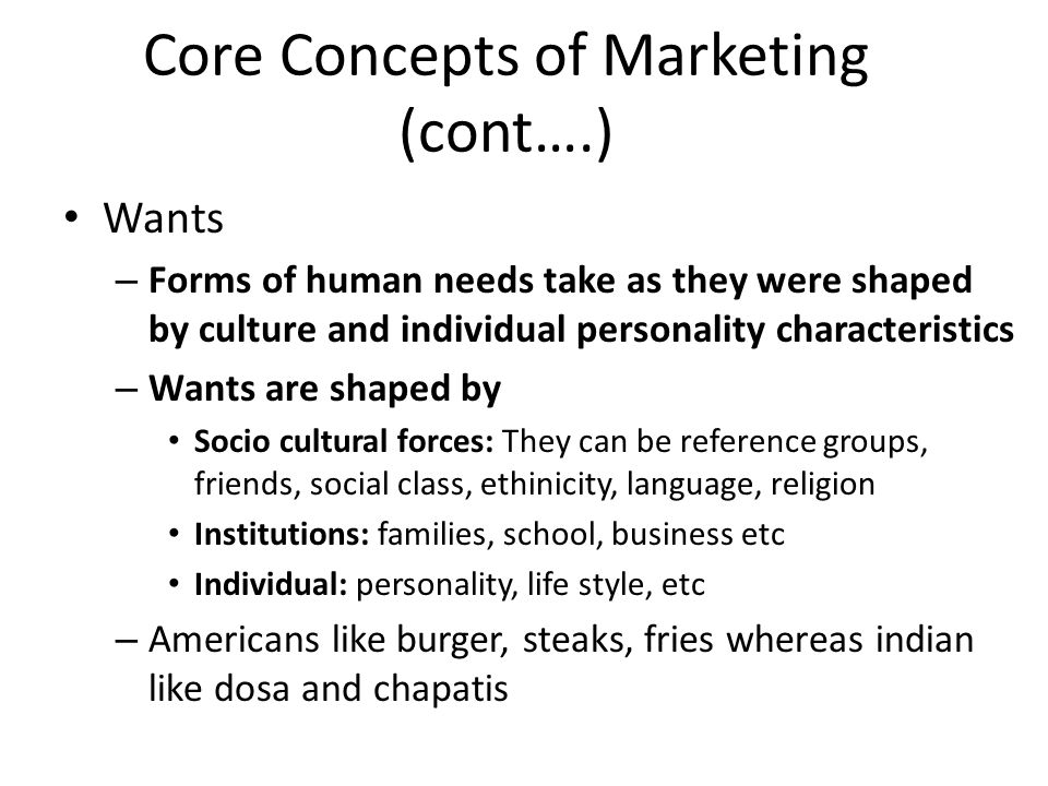 13 core marketing concepts According to allbusinesscom, a marketing concept is a philosophy used by businesses that focuses on satisfying the needs of consumers instead of the needs of the company.
