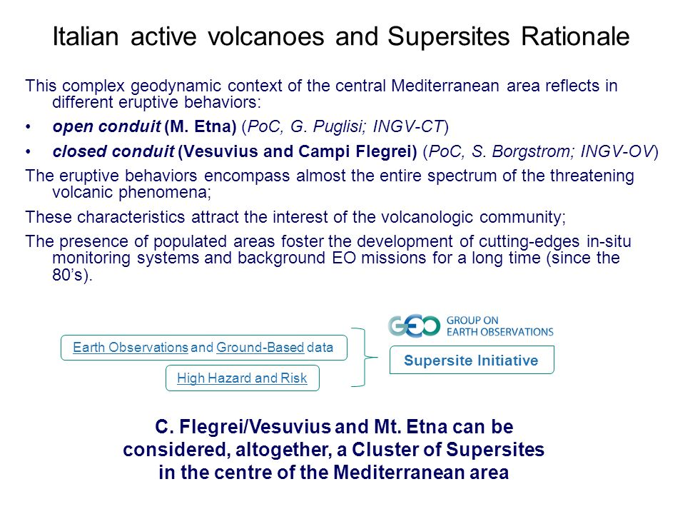 Italian active volcanoes and Supersites Rationale