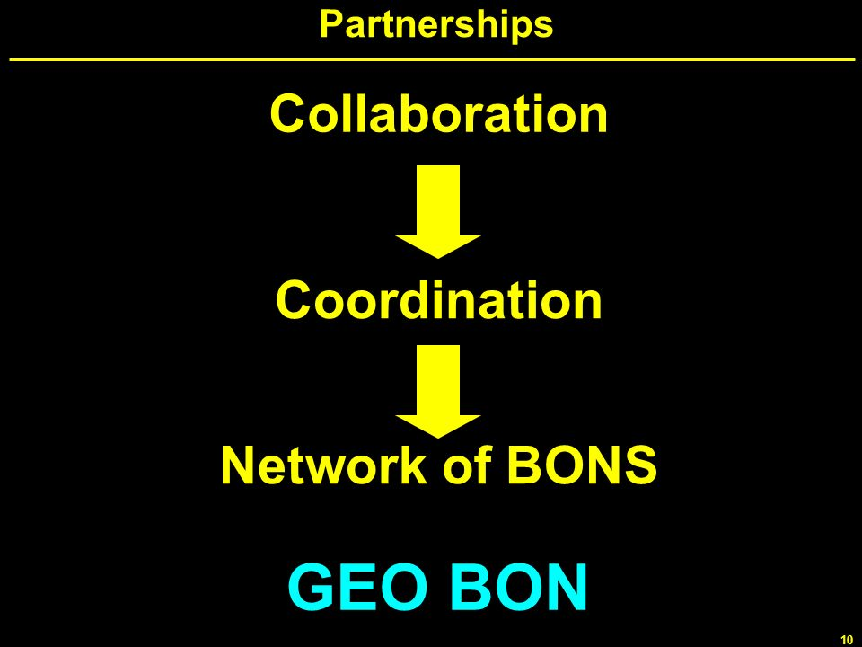 GEO BON Collaboration Coordination Network of BONS Partnerships