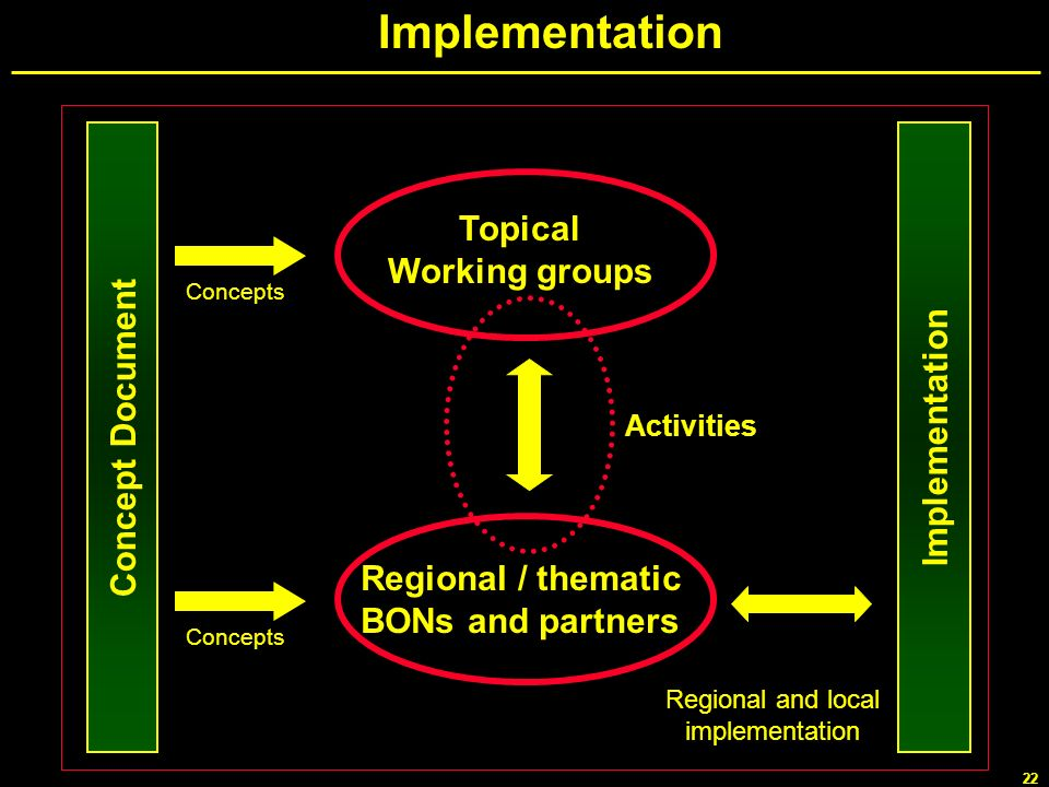 Implementation Topical Working groups Concept Document Implementation