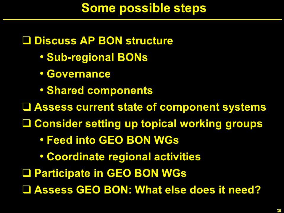 Some possible steps Discuss AP BON structure Sub-regional BONs