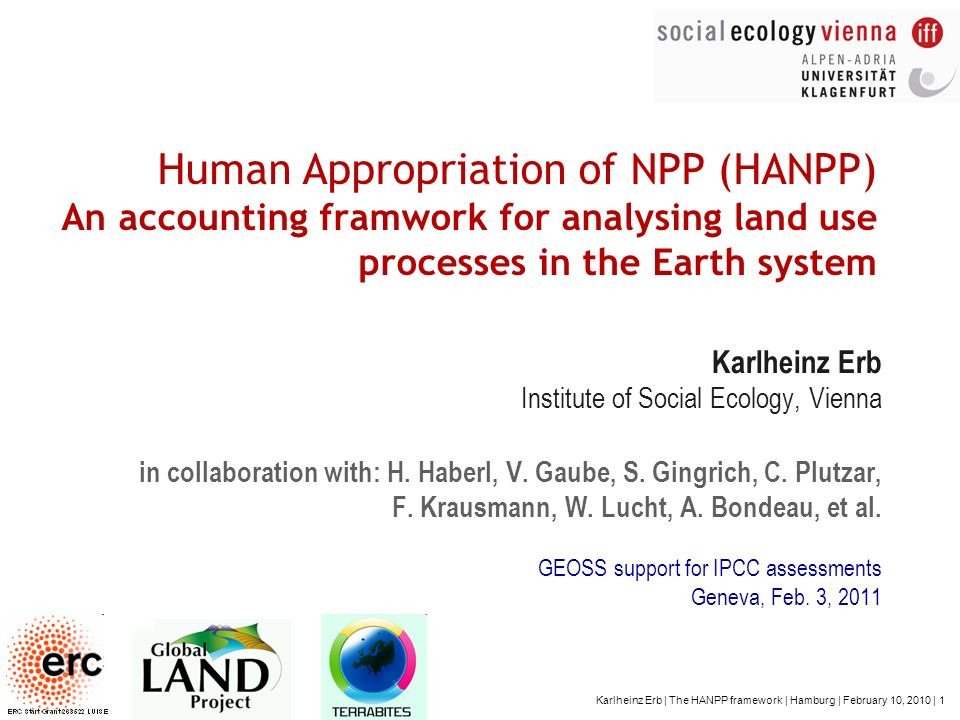Human Appropriation of NPP (HANPP) An accounting framwork for analysing land use processes in the Earth system
