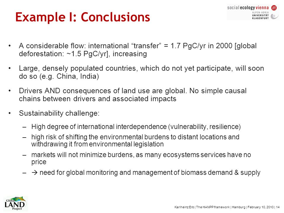 Example I: Conclusions