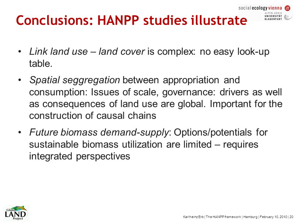 Conclusions: HANPP studies illustrate