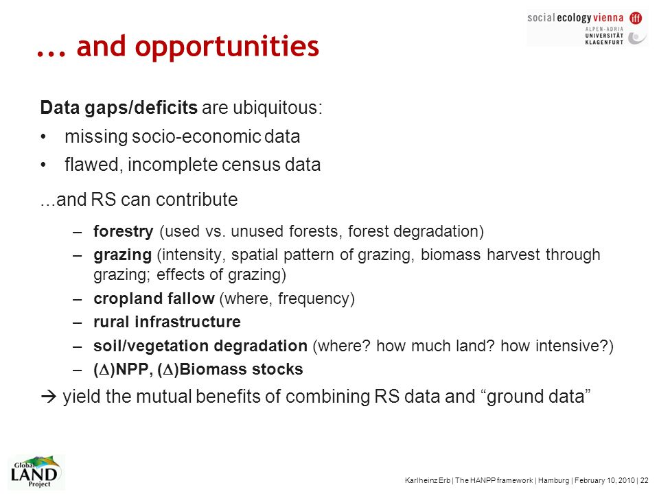 ... and opportunities Data gaps/deficits are ubiquitous: