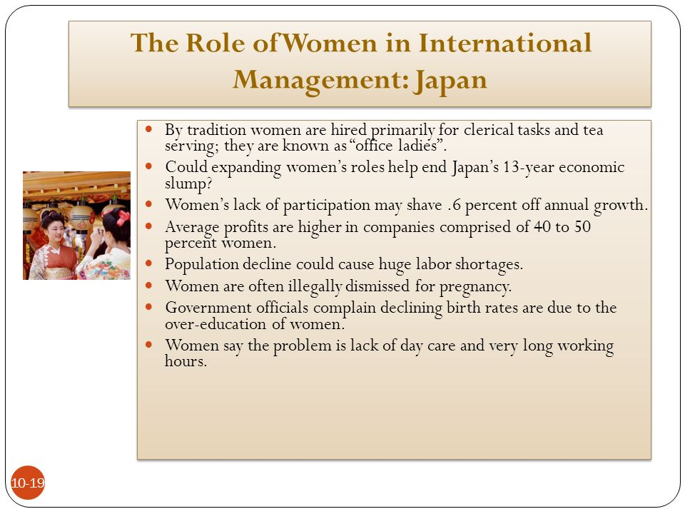 the roles of women in japanese 2008-8-28 takako katayama is one of the many japanese women who are choosing to postpone marriage, causing a plunge in birthratesvideo by.