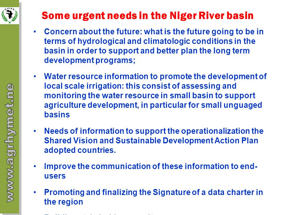Some urgent needs in the Niger River basin
