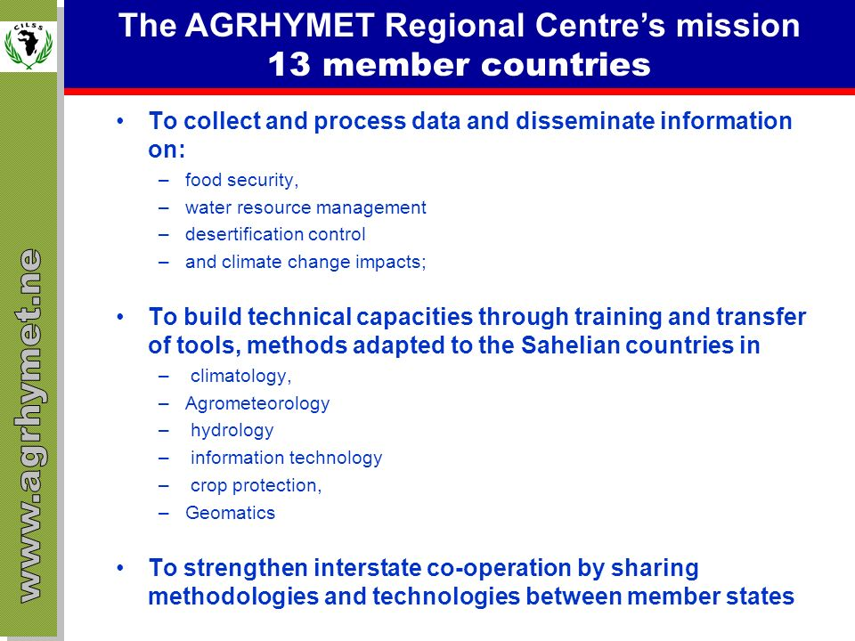 The AGRHYMET Regional Centre's mission