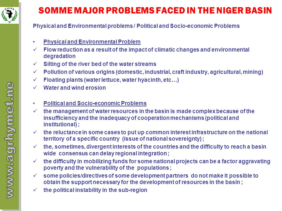 SOMME MAJOR PROBLEMS FACED IN THE NIGER BASIN