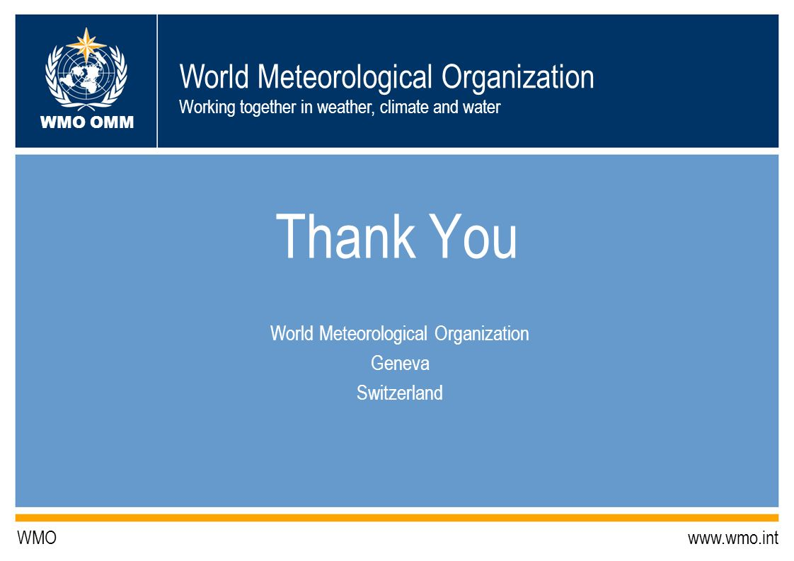 World Meteorological Organization Geneva Switzerland