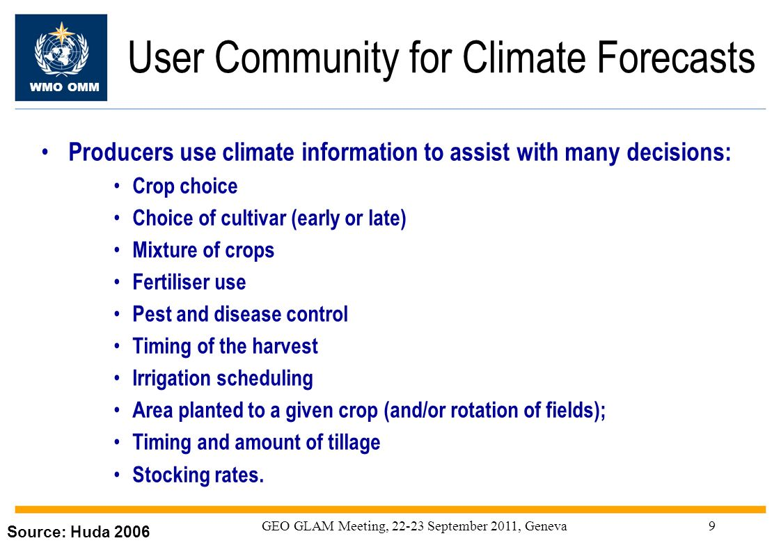 User Community for Climate Forecasts