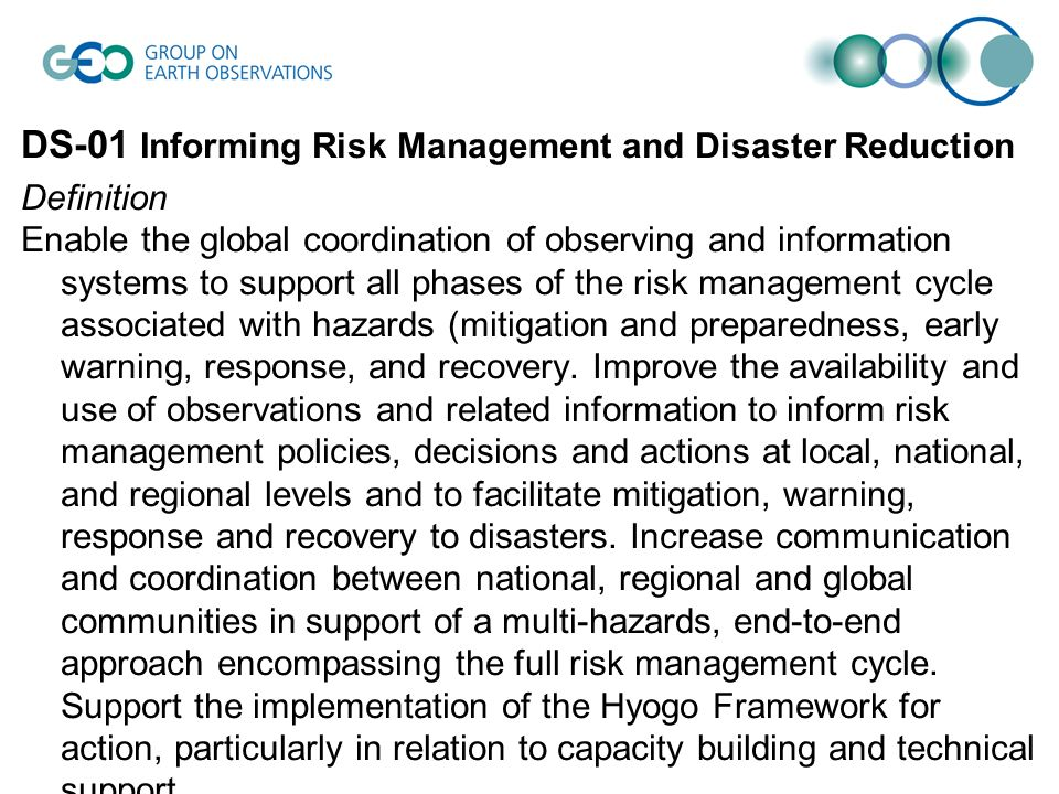 DS-01 Informing Risk Management and Disaster Reduction