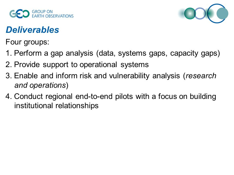 Deliverables Four groups: