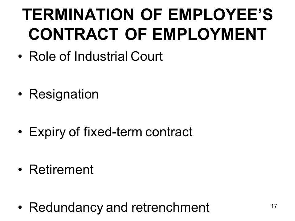 employment relationship and contract In drafting the content of the employment contract, the employer must ensure that at least the terms and conditions employment relationship employment contract.