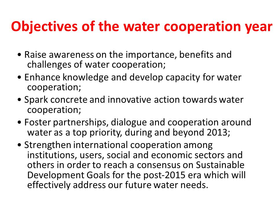 Objectives of the water cooperation year