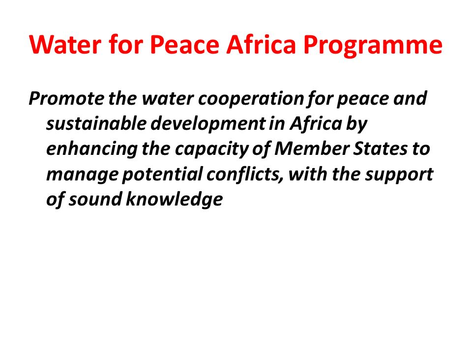 Water for Peace Africa Programme