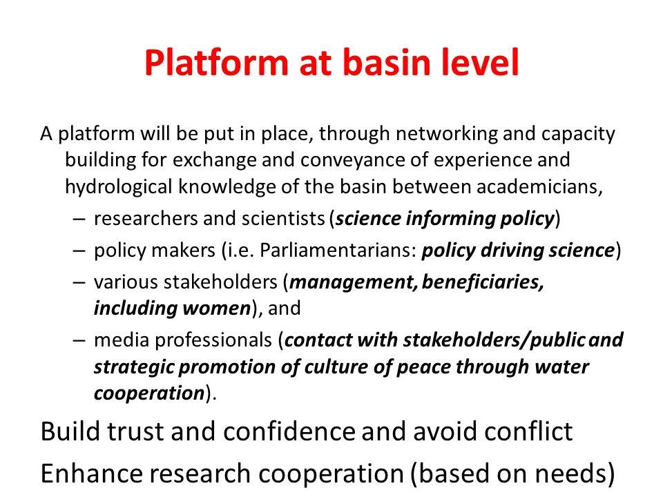 Platform at basin level