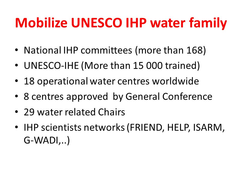 Mobilize UNESCO IHP water family