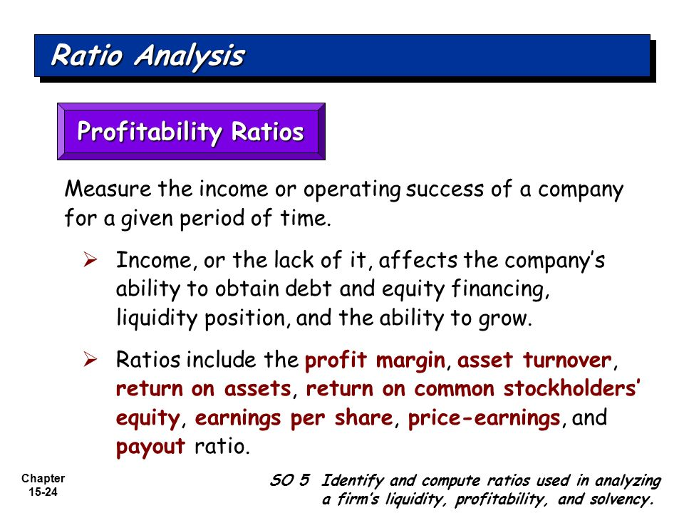 analysis of profitability ratios 2 ratios can be grouped into 3 main areas: 1 performance - how well the business has done (profitability) 2 position - short term standing of the business (liquidity.