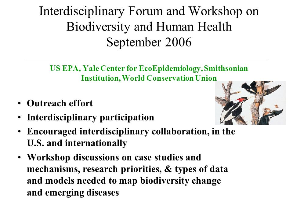 Interdisciplinary Forum and Workshop on Biodiversity and Human Health September 2006 US EPA, Yale Center for EcoEpidemiology, Smithsonian Institution, World Conservation Union