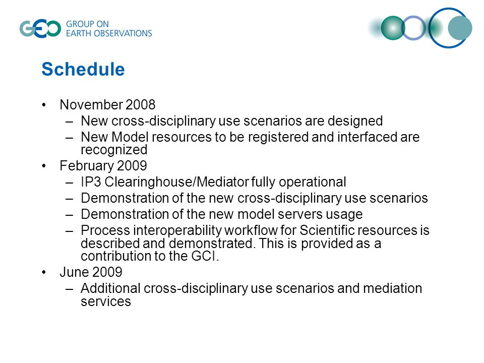 Schedule November 2008. New cross-disciplinary use scenarios are designed. New Model resources to be registered and interfaced are recognized.