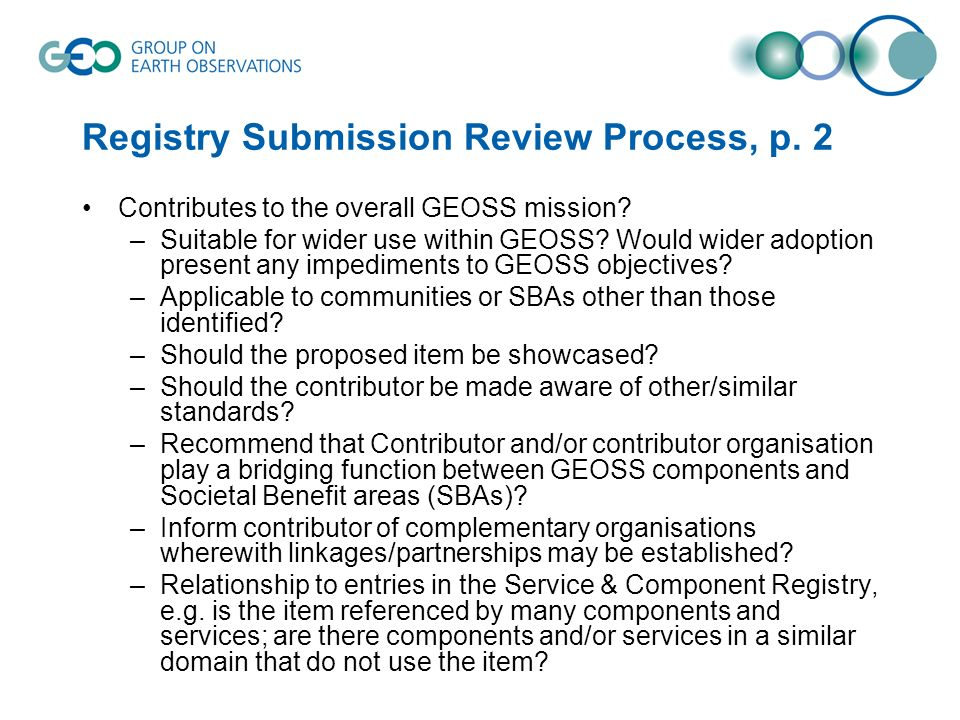 Registry Submission Review Process, p. 2
