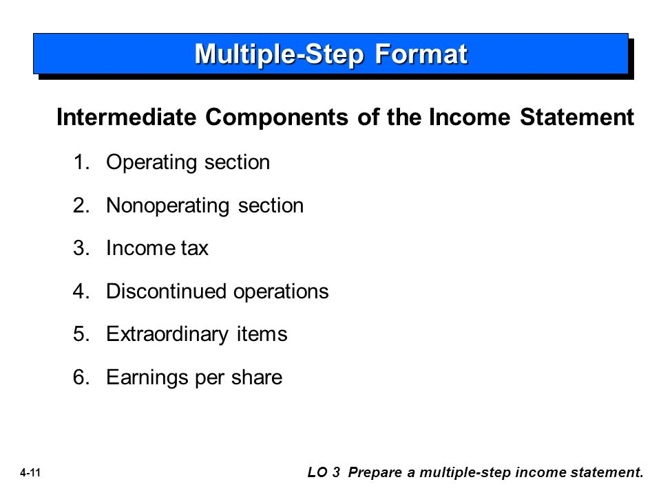 Multiple Step Format Intermediate Components Of The Income Statement  Components Of An Income Statement