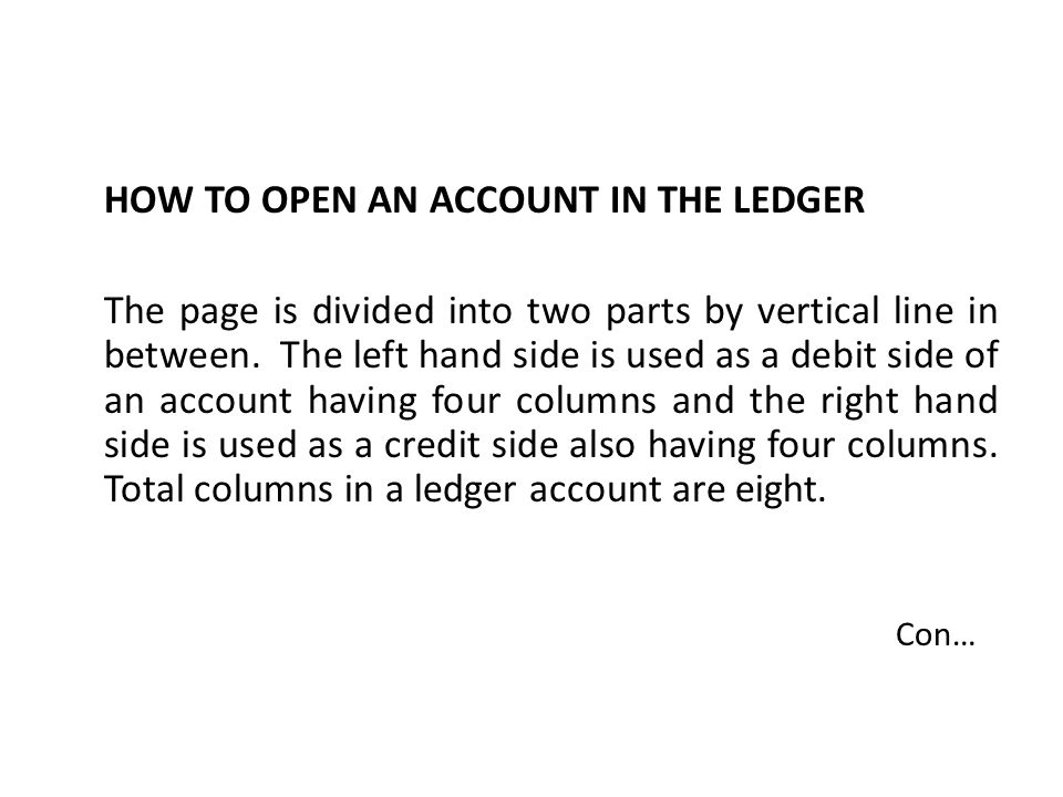 HOW TO OPEN AN ACCOUNT IN THE LEDGER