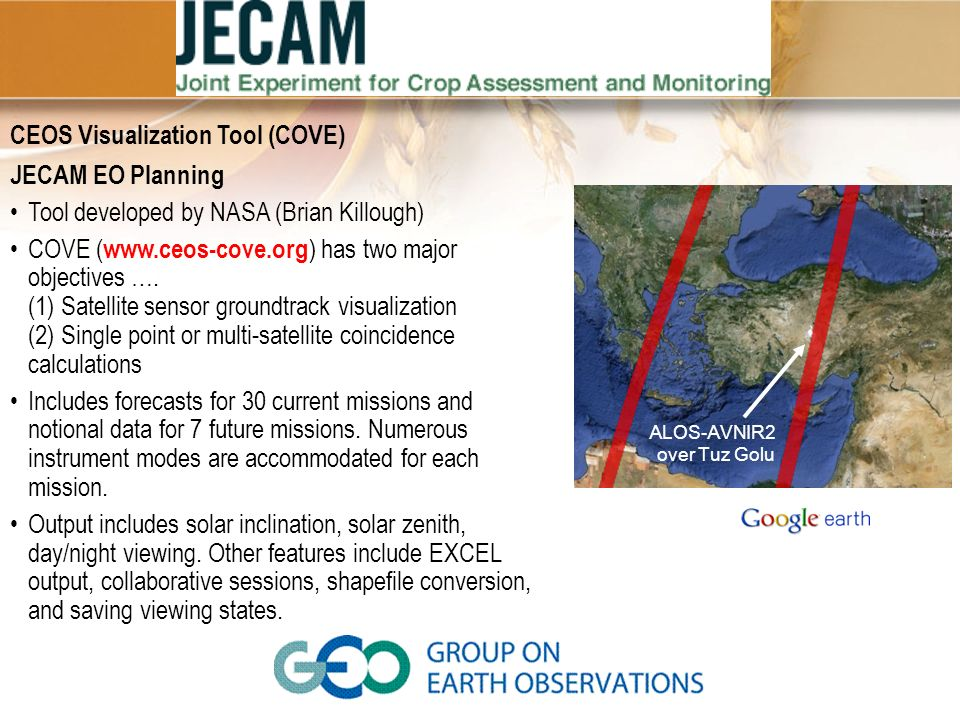 CEOS Visualization Tool (COVE) JECAM EO Planning