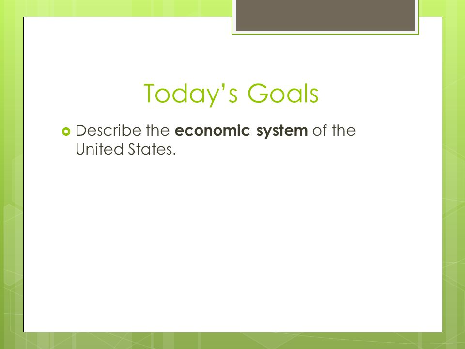 """an introduction to the economic goals of the united states """"introduction to economic systems""""  what basic economic goals do societies  have what types of economic  markets exist because none of us produces."""