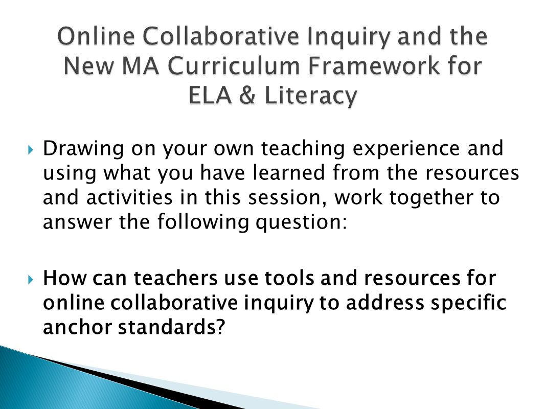 Collaborative Teaching Framework ~ Digging deeper online collaborative inquiry ppt video