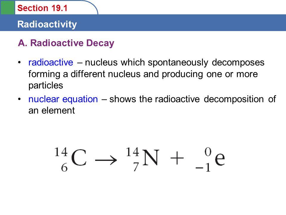 radioactive decay equation