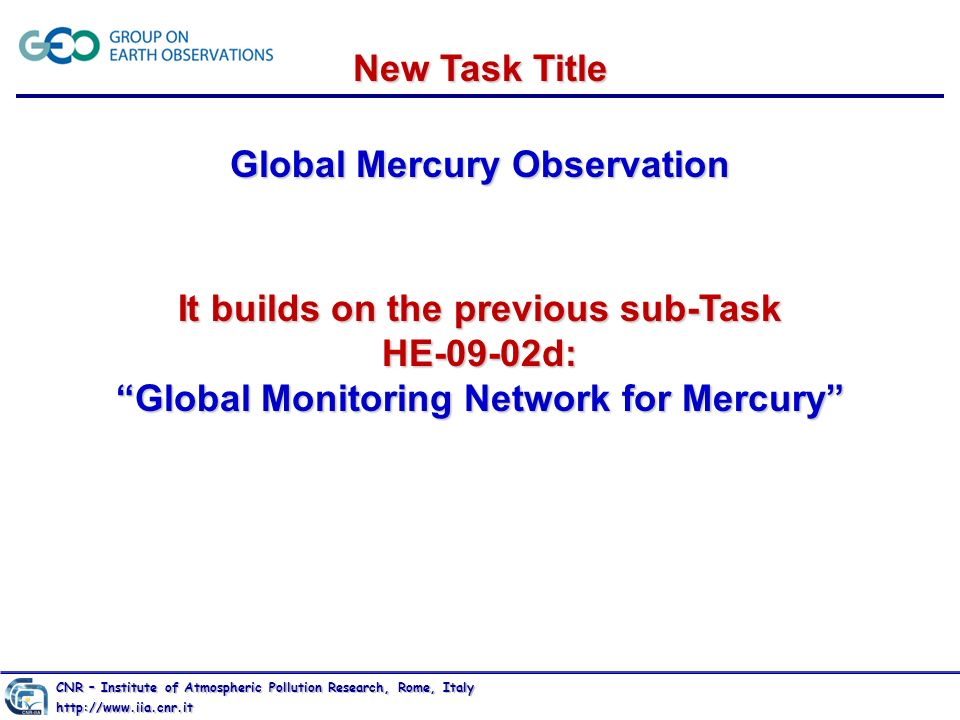 Global Mercury Observation