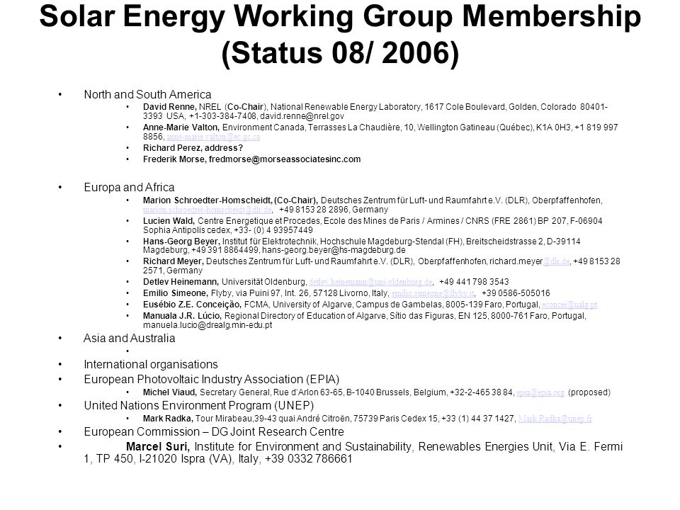Solar Energy Working Group Membership (Status 08/ 2006)
