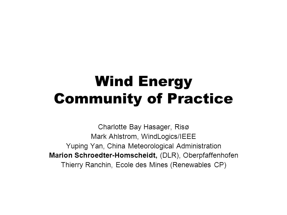 Wind Energy Community of Practice