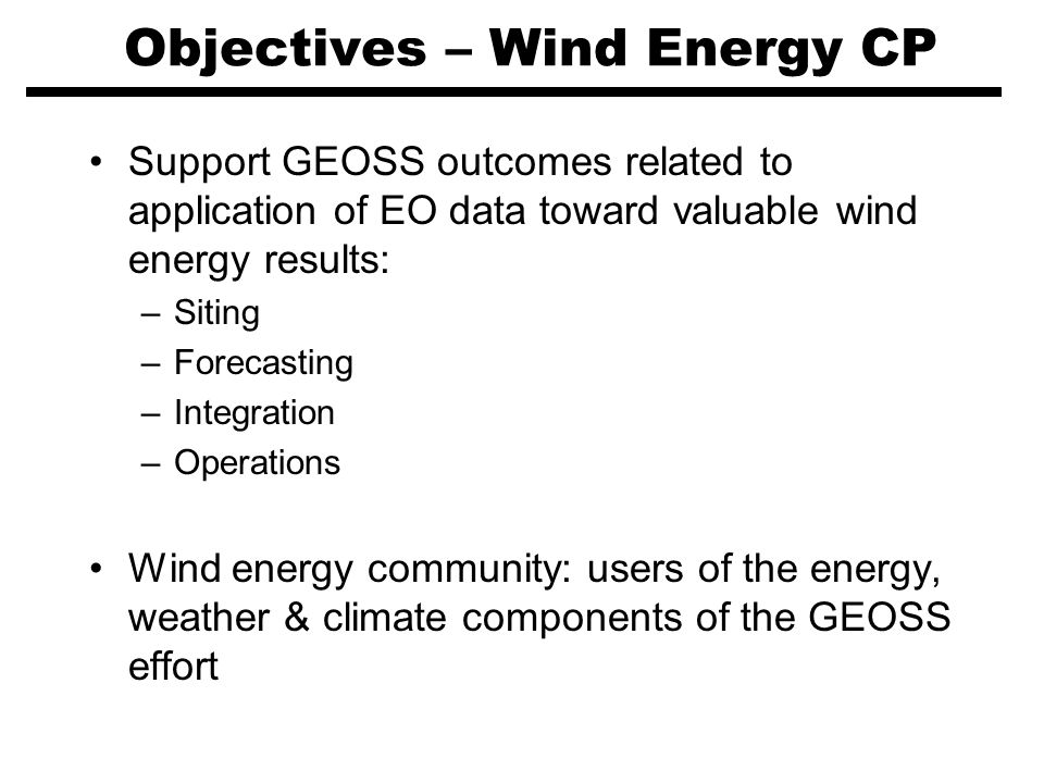 Objectives – Wind Energy CP