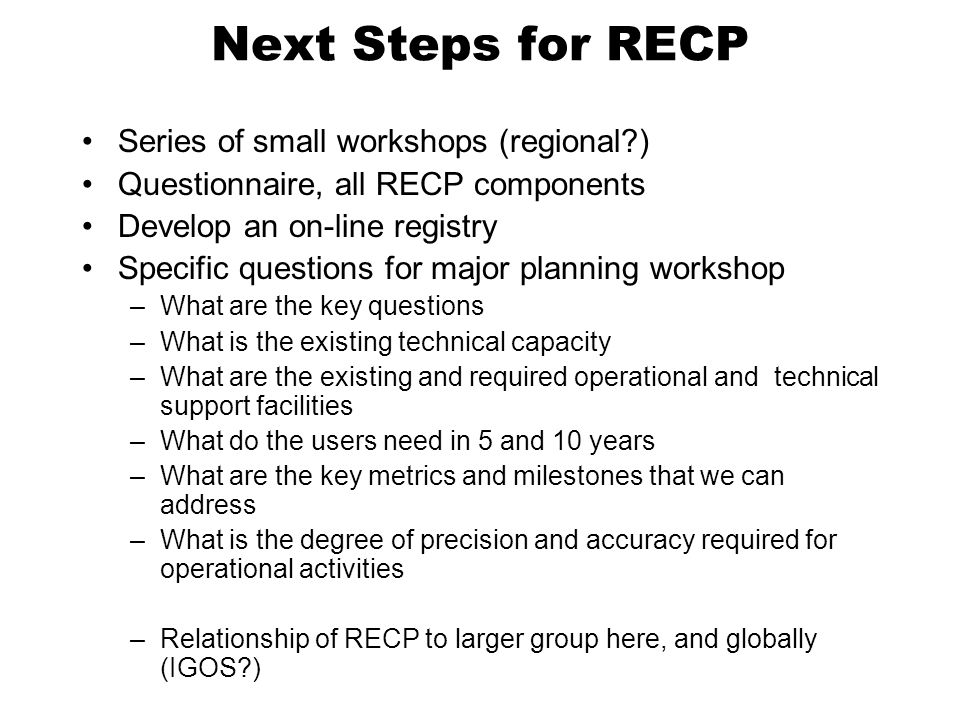 Next Steps for RECP Series of small workshops (regional )
