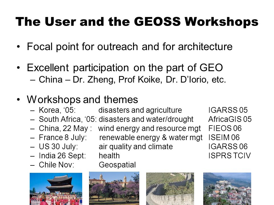 The User and the GEOSS Workshops