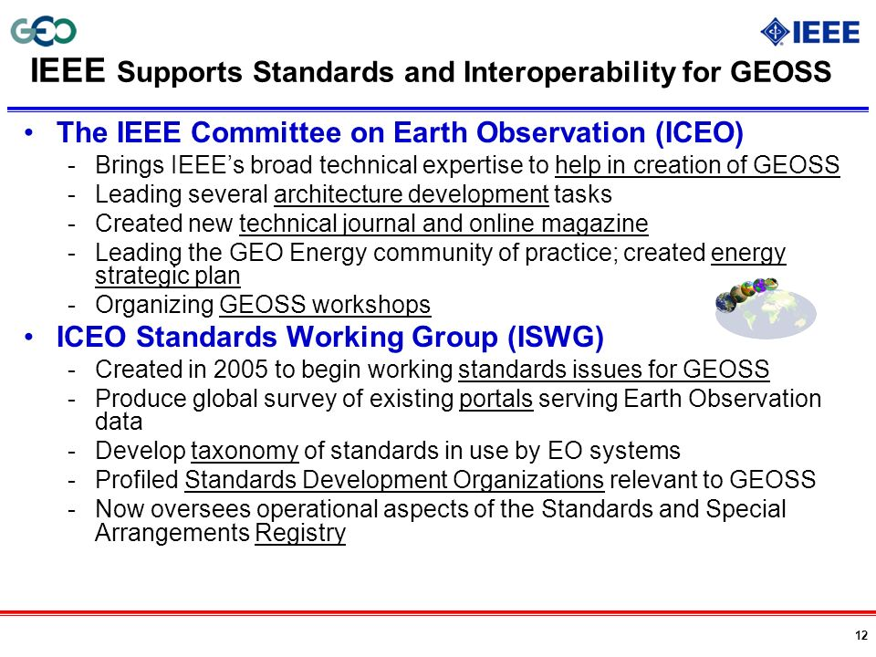 IEEE Supports Standards and Interoperability for GEOSS