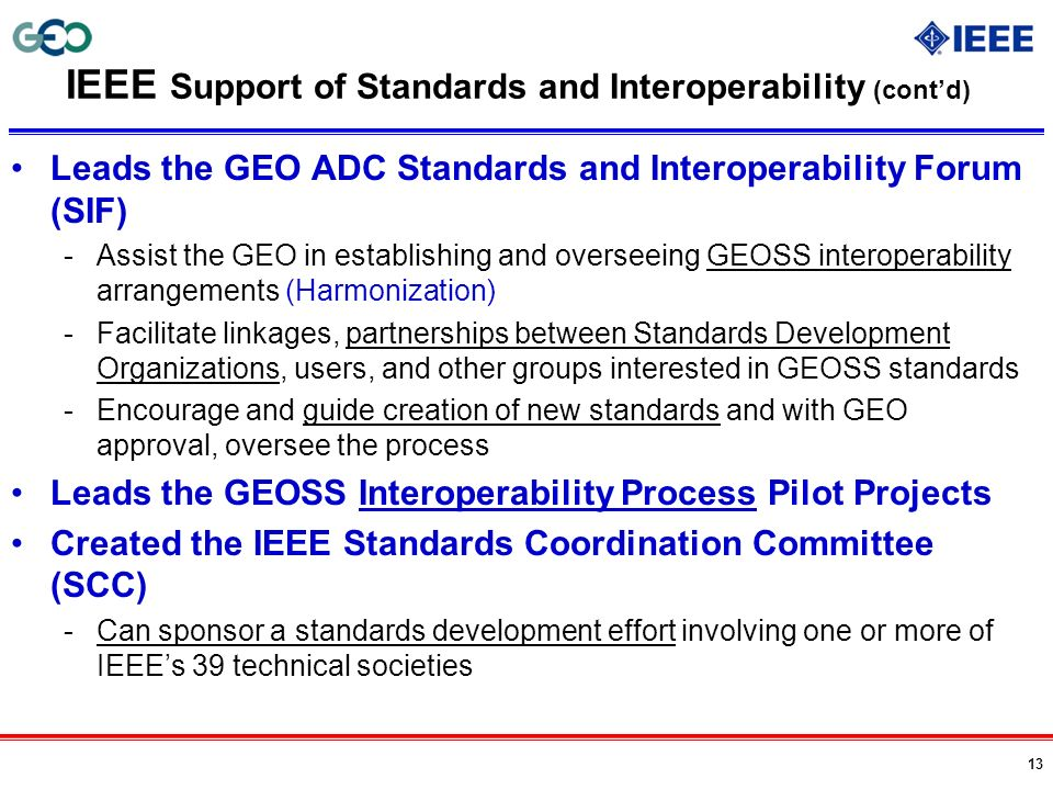 IEEE Support of Standards and Interoperability (cont'd)